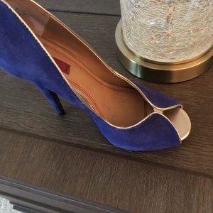 Royal blue and gold heels